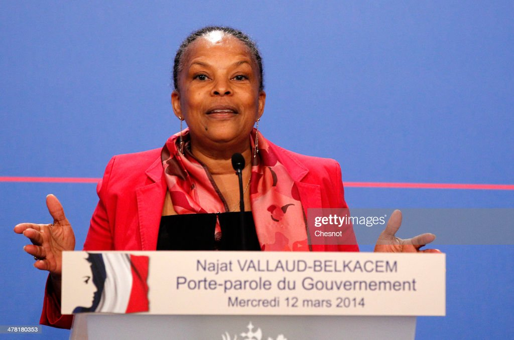 French Justice Minister Christiane Taubira addresses to the media after the weekly cabinet meeting at the Elysee palace on March 12, 2014 in Paris, France. Justice Minister Christiane Taubira today dismissed an accusation by France's opposition conservatives saying she had not been aware that ex-president Nicolas Sarkozy's phone was being tapped until it was publicly revealed by Le Monde newspaper last week.