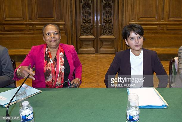 French Justice Minister Christiane Taubira and French Education Minister Najat VallaudBelkacem sit sidebyside at the start of a meeting with public...