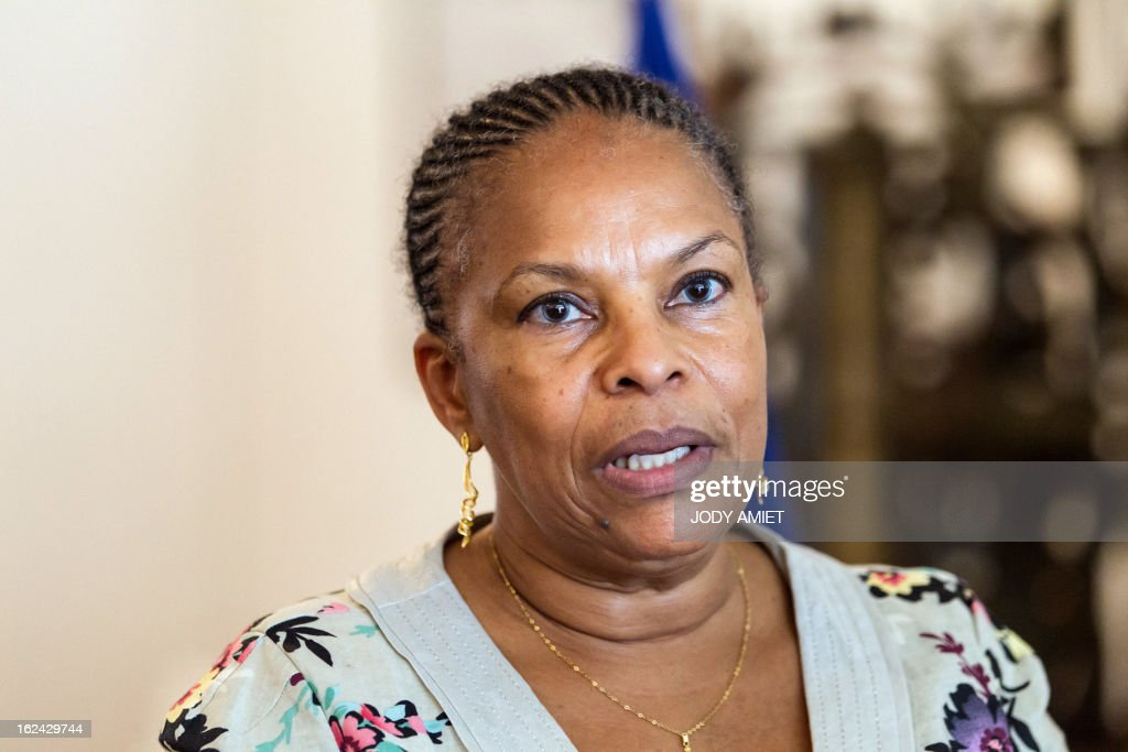 French Justice Minister Christiane Taubira answers journalists' questions on February 23, 2013, during a five-day official visit in Guiana.