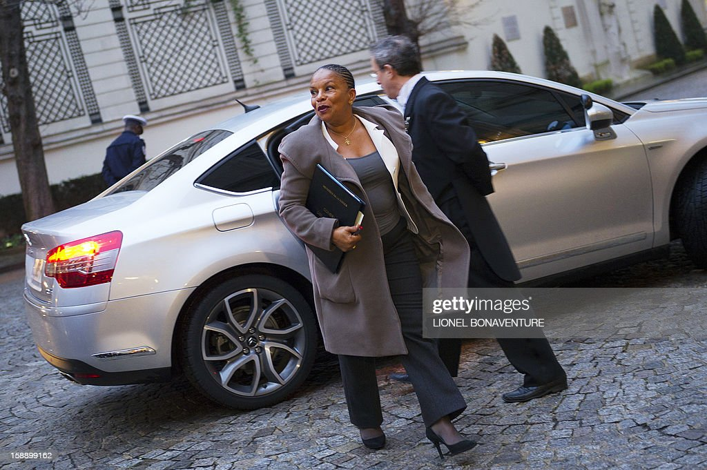 French Justice Minister, Christiane Taubira arrives at the Ministry of Interior to attend a breakfast with ministers on January 3, 2013 in Paris.