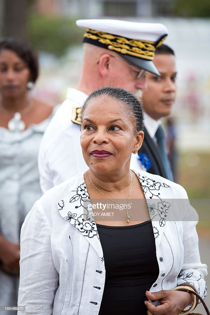 French Justice Minister Christiane Taubira attends a ceremony of remembrance dedicated to soldiers and war victims, on November 2, 2012, in the military section of Cayenne's cemetery, in French overseas region of Guiana.