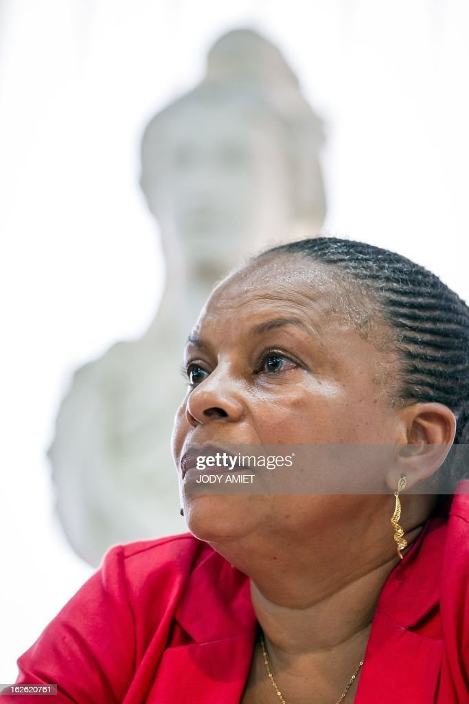French Justice minister Christiane Taubira delivers a speech at Kourou's city hall, on February 23, 2013 in Kourou, as part of her five-day visit to the French French overseas territory of Guiana.