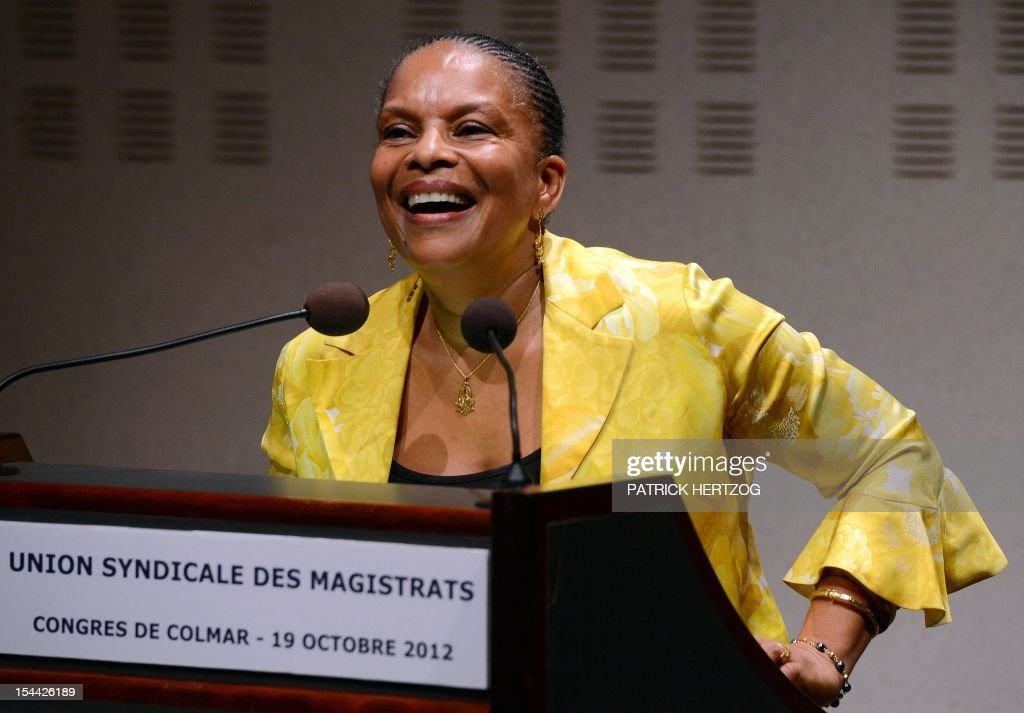 French Justice Minister Christiane Taubira delivers a speech during the annual congress of the Union Syndicale des Magistrats (union association of magistrates), in Colmar, eastern France, on October 19, 2012.