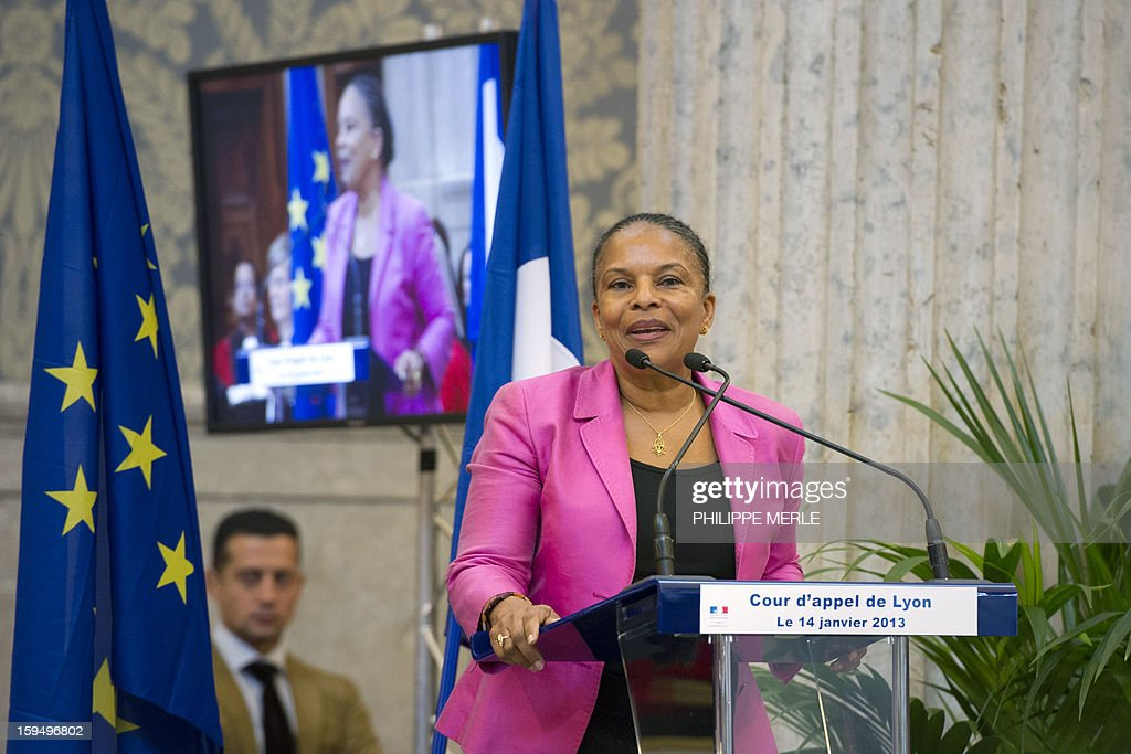 French Justice Minister Christiane Taubira (C) delivers a speech, on January 14, 2013 in Lyon, in central France, during a formal sitting of the appeal court, following a ceremony inaugurating the Courthouse after a four-year revamp.