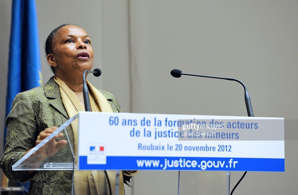 French Justice minister Christiane Taubira delivers a speech, on November 20, 2012 in Roubaix, after visiting the National School for Youth's Judicial protection. AFP PHOTO DENIS CHARLET