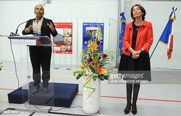 French Justice minister Christiane Taubira gives a speech during a joined visit with Social Affairs Health and Women's Rights minister Marisol...