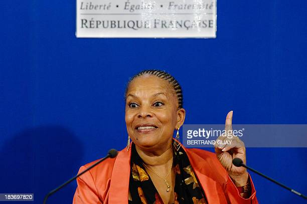 French Justice Minister Christiane Taubira holds a press conference at her ministry in Paris on October 9 following the weekly cabinet meeting where...