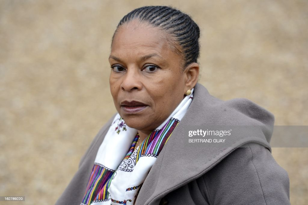 French Justice Minister Christiane Taubira leaves the Elysee Presidential Palace in Paris on February 27, 2013, at the end of the weekly cabinet meeting.