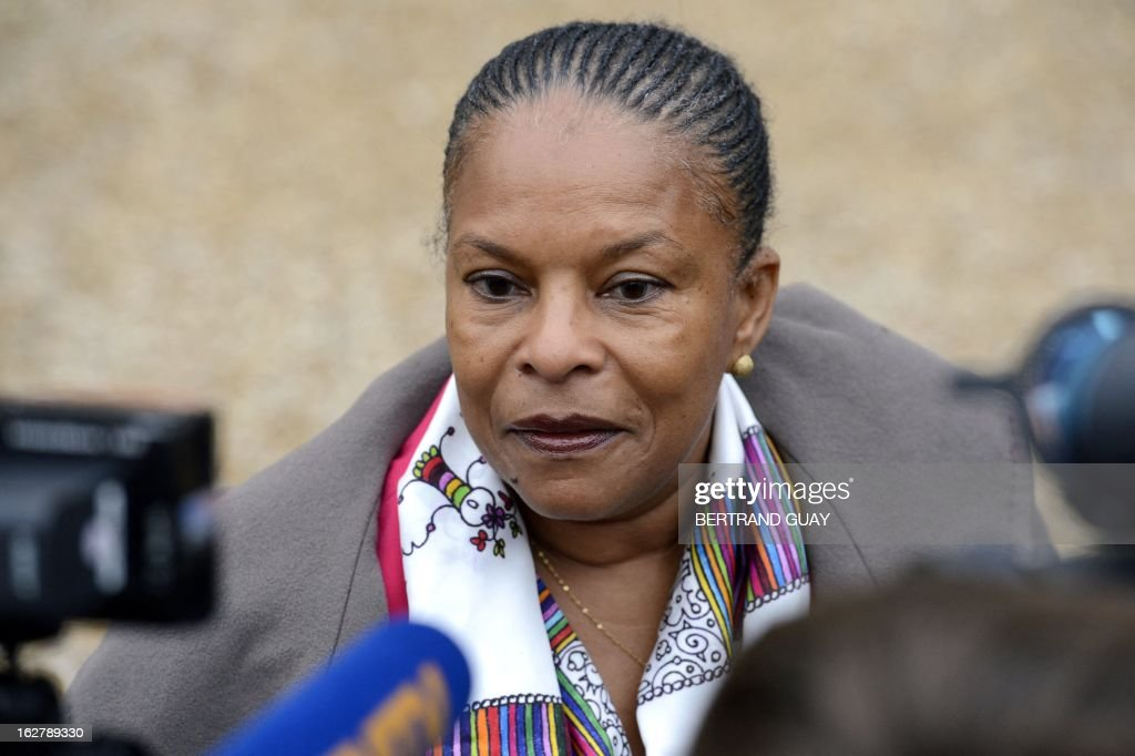 French Justice Minister Christiane Taubira speaks to the press on February 27, 2013, following the weekly cabinet meeting at the Elysee Presidential Palace in Paris.