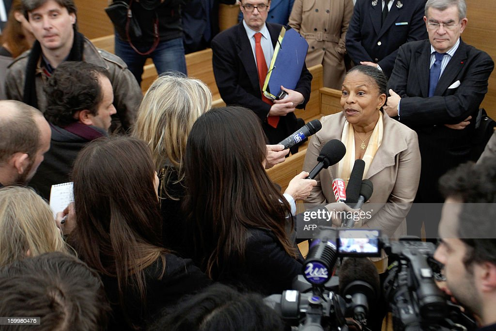 French Justice Minister Christiane Taubira talks to journalists after a meeting with member of the Corsican assembly on January 24, 2013, in Ajaccio, Corsica, during a visit on the island focusing on new measures taken against organized crime.