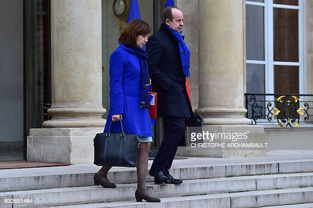 French Justice Minister JeanJacques Urvoas and French Minister for Family Children and Women's Rights Laurence Rossignol leave the Elysee...
