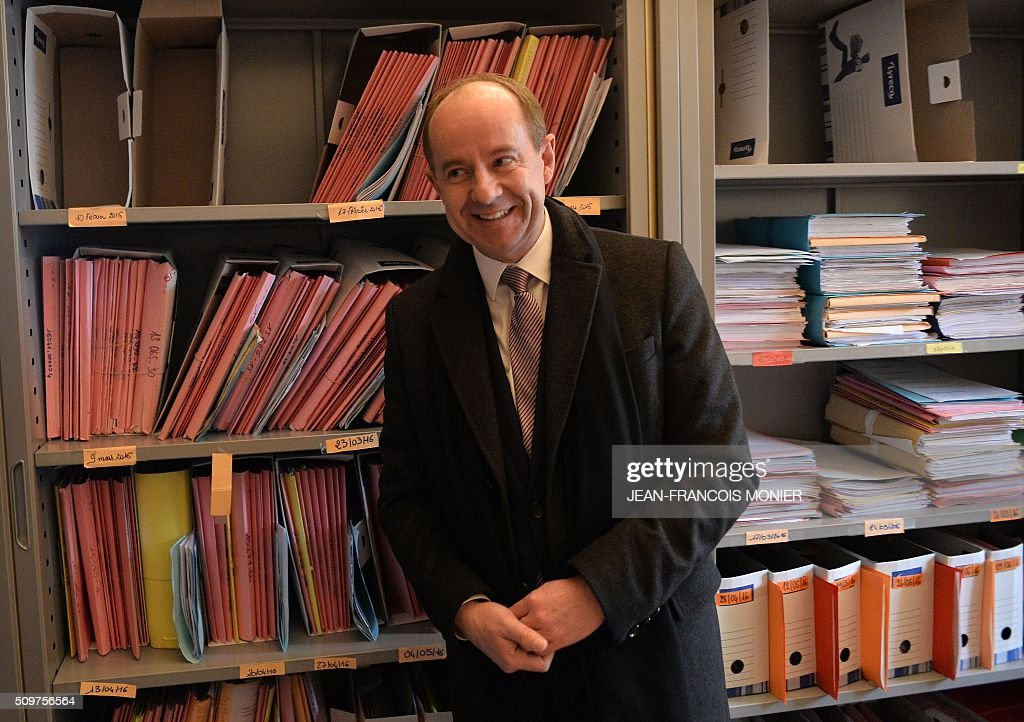 French Justice Minister Jean-Jacques Urvoas is pictured during his visit to the Regional Court (TGI) of Chartres on February 12, 2016. / AFP / JEAN-FRANCOIS MONIER