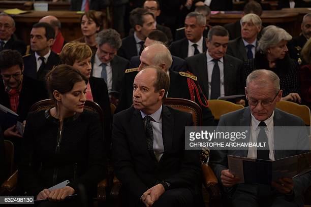French Justice minister JeanJacques Urvoas speaks with junior minister in charge of victims' support Juliette Meadel ahead of a solemn hearing to...