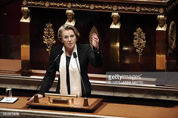 French Justice Minister Michele AlliotMarie speaks on May 11 2010 at the National Assembly in Paris prior to a vote in regards to the debate on the...