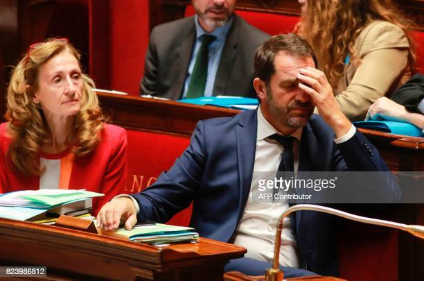 French Justice Minister Nicole Belloubet and French Junior Minister for the Relations with Parliament and Government Spokesperson Christophe Castaner...