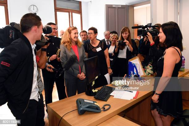 French Justice Minister Nicole Belloubet arrives on July 21 2017 in Arras to meet the youth at the UEHC / AFP PHOTO / FRANCOIS LO PRESTI