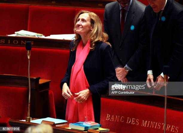 French Justice Minister Nicole Belloubet attends a debate on a draft law on the moralisation of political life at the French National Assembly in...