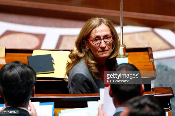 French Justice Minister Nicole Belloubet attends a session to discuss a bill on regulation of public life at the French National Assembly in Paris on...