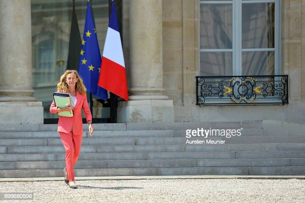 French Justice Minister Nicole Belloubet leaves the Elysee Palace after the weekly cabinet meeting with French President Emmanuel Macron on June 22...