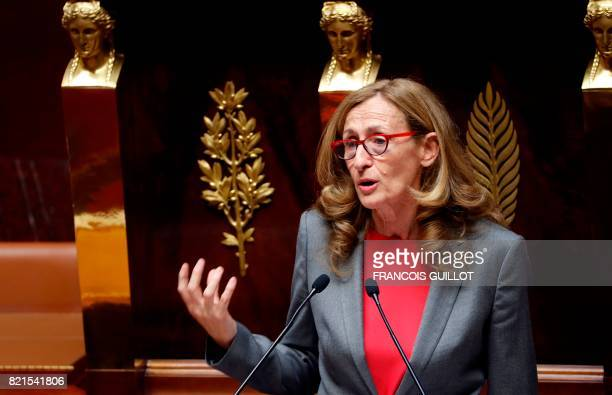 French Justice Minister Nicole Belloubet speaks during a session to discuss a bill on regulation of public life at the French National Assembly in...
