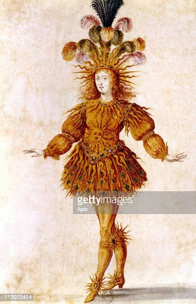 French King Louis XIV wearing the Sun costume for Ballet of The Night in 1653 engraving