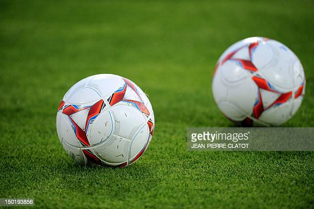 A French L1 official ball is presented as part of the 80th anniversary of the French football professional League prior to the French L1 football...