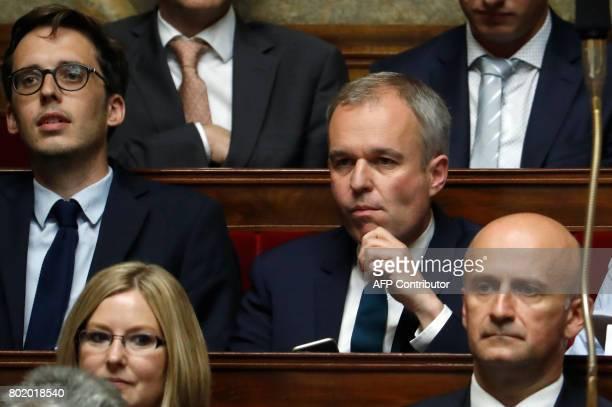 French La Republique en Marche Francois de Rugy and French MP of La Republique en Marche party Pacome Rupin attend the inaugural session of the 15th...