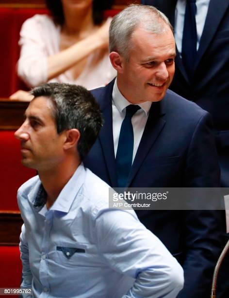 French La Republique en Marche Francois de Rugy and La France Insoumise leftist party's Member of Parliament Francois Ruffin attend the inaugural...