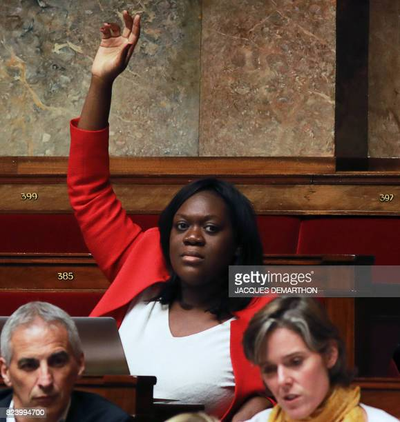 French La Republique en Marche party member of Parliament Laetitia Avia attends a debate on a draft law on the moralisation of political life at the...