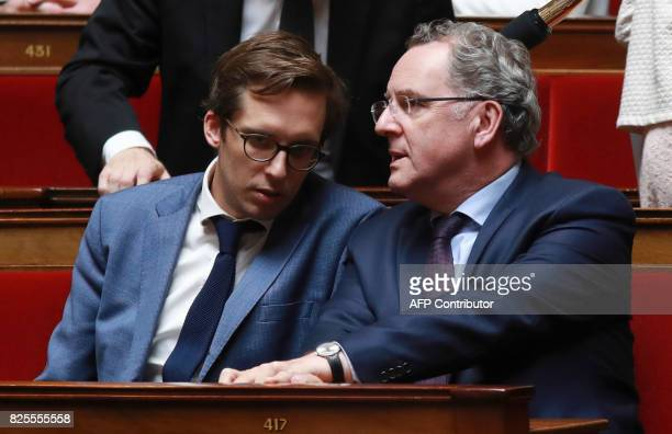French La Republique en Marche party's group president at the French national assembly Richard Ferrand speaks with REM party's PM Pacome Rupin during...