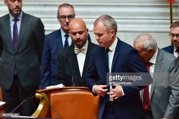 French La Republique en Marche party's Member of Parliament and newly elected President of the National Assembly Francois de Rugy arrives to deliver...
