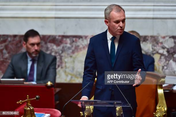 French La Republique en Marche party's Member of Parliament and newly elected President of the National Assembly Francois de Rugy delivers a speech...