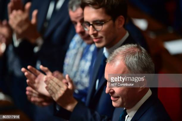 French La Republique en Marche party's Member of Parliament Francois de Rugy is applauded by MPs after being elected President of the National...