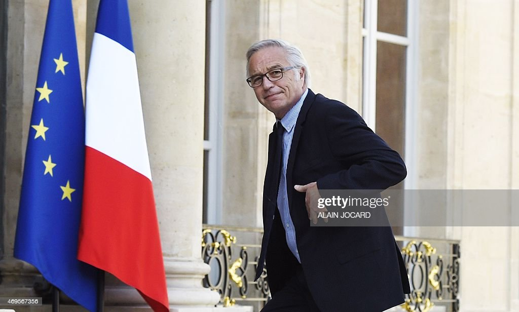 French Labor Minister <a gi-track='captionPersonalityLinkClicked' href=/galleries/search?phrase=Francois+Rebsamen&family=editorial&specificpeople=590201 ng-click='$event.stopPropagation()'>Francois Rebsamen</a> arrives on April 13, 2015 for a meeting on employment at the presidential Elysee palace in Paris.