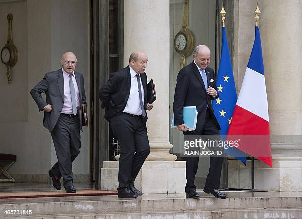 French Labour Employment and Social Dialogue Michel Sapin French Defence Minister JeanYves Le Drian and French Minister of Foreign Affairs Laurent...