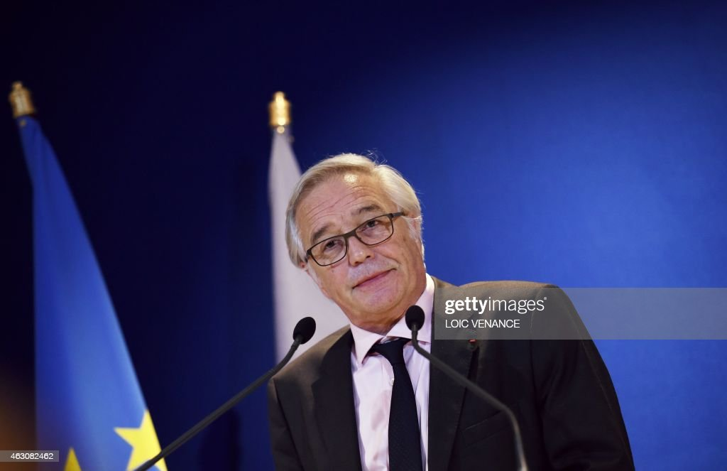 French Labour minister <a gi-track='captionPersonalityLinkClicked' href=/galleries/search?phrase=Francois+Rebsamen&family=editorial&specificpeople=590201 ng-click='$event.stopPropagation()'>Francois Rebsamen</a> gives a press conference to announce the government plan to struggle against long-term unemployment, on February 9, 2015 in Paris.