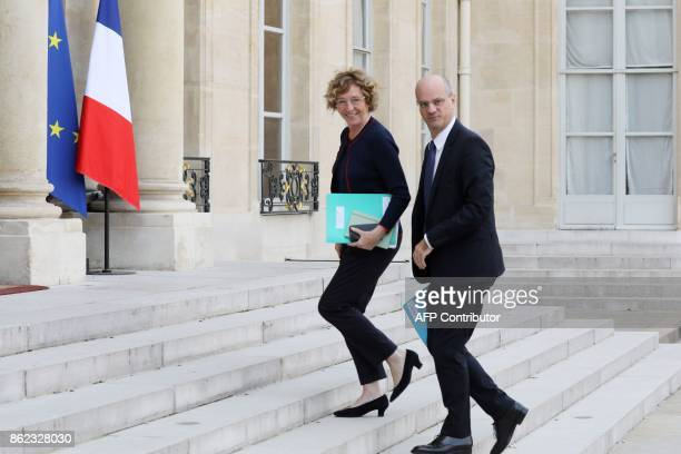 French Labour Minister Muriel Penicaud and Education Minister JeanMichel Blanquer arrive to take part of a working lunch about youth poverty...