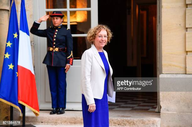 French Labour Minister Muriel Penicaud arrives for a meeting of French union CGT with the French Prime Minister at the Hotel de Matignon in Paris on...