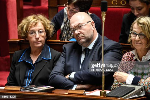French Labour Minister Muriel Penicaud French Agriculture Minister Stephane Travert and French Culture Minister Francoise Nyssen attend a session of...
