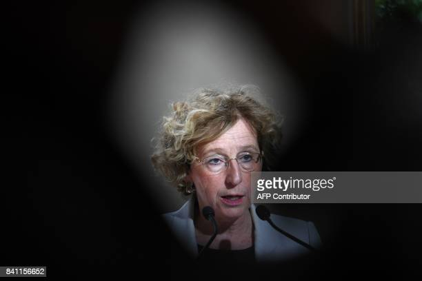 French Labour Minister Muriel Penicaud holds a press conference after a meeting about the new labour law with representatives of French trade unions...