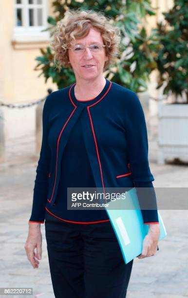 French Labour Minister Muriel Pénicaud arrives at Hotel de Matignon in Paris on October 17 for talks between union leaders and French Prime Minister...
