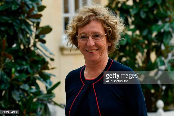 French Labour Minister Muriel Pénicaud arrives for a meeting at the Hotel Matignon in Paris on October 17 as part of a day of talks between union...