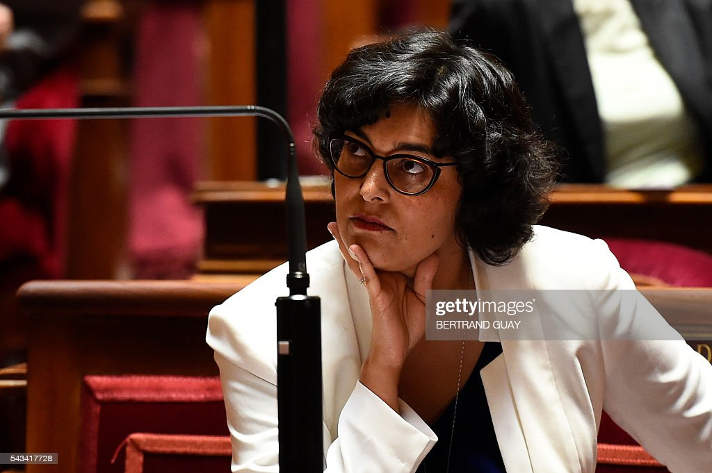 French Labour Minister Myriam El Khomri looks on during a debate concerning the labour reform at the French Senate in Paris on June 28, 2016. / AFP / BERTRAND