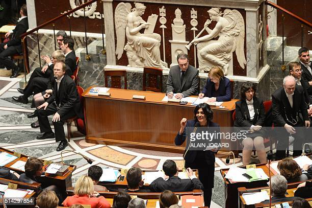 French Labour minister Myriam El Khomri speaks during a session of questions to the Government at the French National Assembly in Paris on March 8...