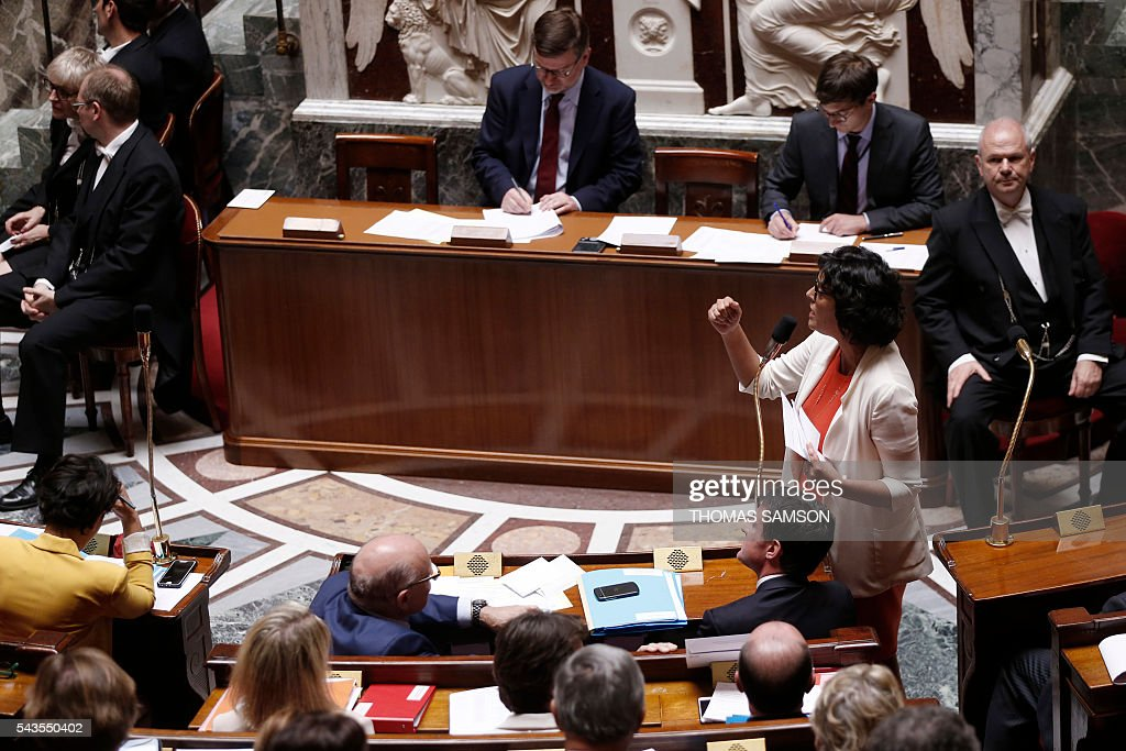 French Labour minister Myriam El Khomri speaks during the questions to the government session on June 29, 2016 at the French National Asssembly in Paris. / AFP / Thomas SAMSON