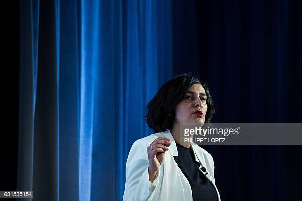 French Labour Minister Myriam El Khomri speaks during the unveiling of the 'compte personnel dactivite' in Paris on January 12 2017 in Paris / AFP /...