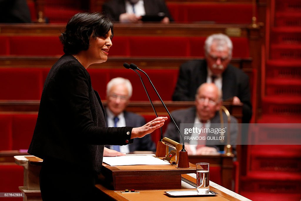 French Labour minister Myriam El-Khomri delivers a speech during a session of Questions to the government, on May 3, 2016 at the French National assembly in Paris.