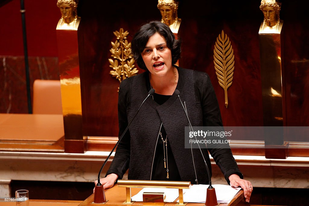 French Labour minister Myriam El-Khomri (C) delivers a speech prior to the vote on the controversial labour reform bill, on May 3, 2016 at the French National assembly in Paris.