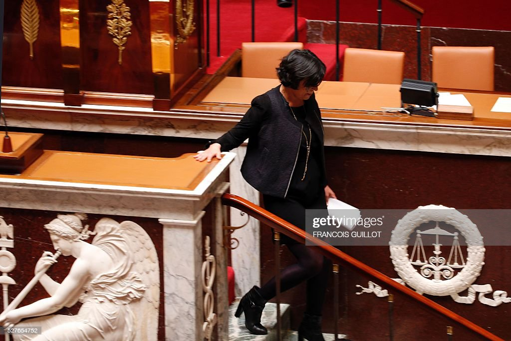 French Labour minister Myriam El-Khomri leaves after delivering a speech prior to the vote on the controversial labour reform bill, on May 3, 2016 at the French National assembly in Paris.