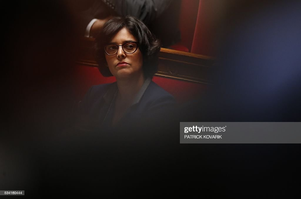 French Labour minister Myriam El-Khomri looks on during a session of Questions to the Government, on May 25, 2016 at the National Assembly in Paris.